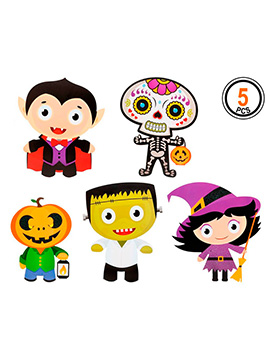Set 5 Decoraciones Personajes Halloween