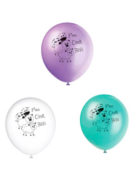 Set 8 Globos Látex Animales Granja