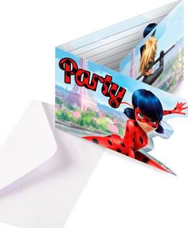 Set 8 Invitaciones LadyBug