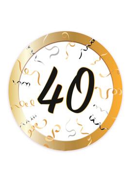 Set 8 Platos 40 Cumpleaños 23 cm