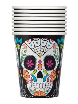 Set 8 vasos Día de los Muertos