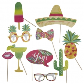 Set de 10 Accesorios para Photocall Tropical