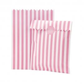 Set de 10 bolsitas rosas y blancas para dulces