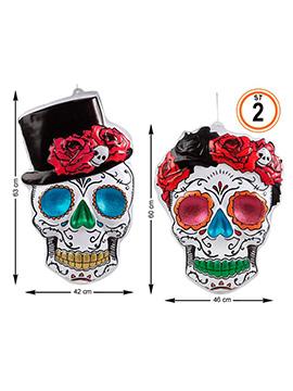 Set de 2 Decoraciones Día de los Muertos 60 cm