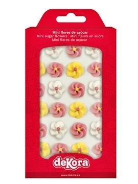 Flores de Azúcar Blancas, Rosas y Amarillas 24 unidades