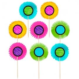 Set de 24 Toppers Abanicos de Colores