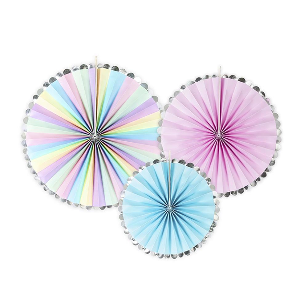 Set de 3 abanicos decorativos en colores pastel de unicornio