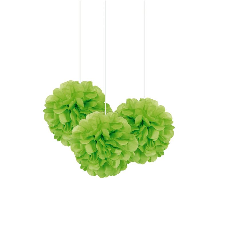 Set de 3 Pompones Verdes 22 cm