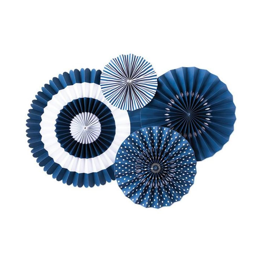 Set de 4 abanicos Decorativos Azul Marino