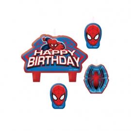 Set de 4 velas de cumpleaños Spiderman