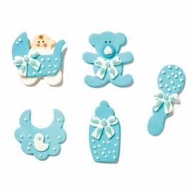 Set de 5 decoraciones de azúcar bebé niño