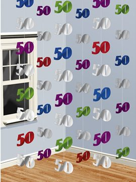 Set de 6 Decoraciones Verticales 50 años Multicolor