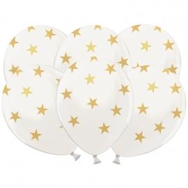 Set de 6 Globos Blanco Satinado con Estrellas Doradas