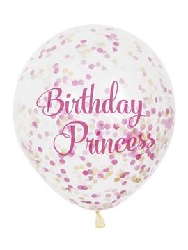 Set de 6 Globos Transparentes con Confeti Princesas