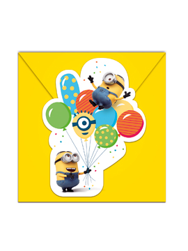 Pack de 6 Invitaciones Minions Party