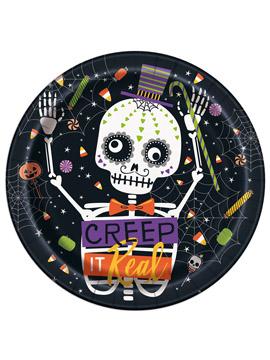 Juego de 8 Platos Esqueleto Halloween 22 cm