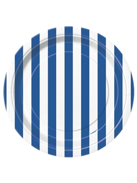 Juego de Platos Rayas Azul Royal 17cm