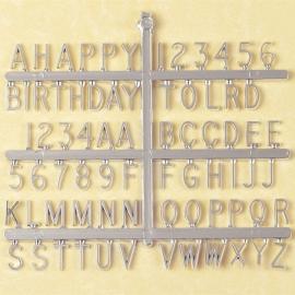 Set de letras y números plateados para decorar 13mm