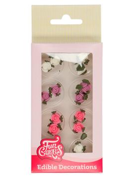 Set Decoraciones de Azúcar Rosas con Hojas 16 unidades