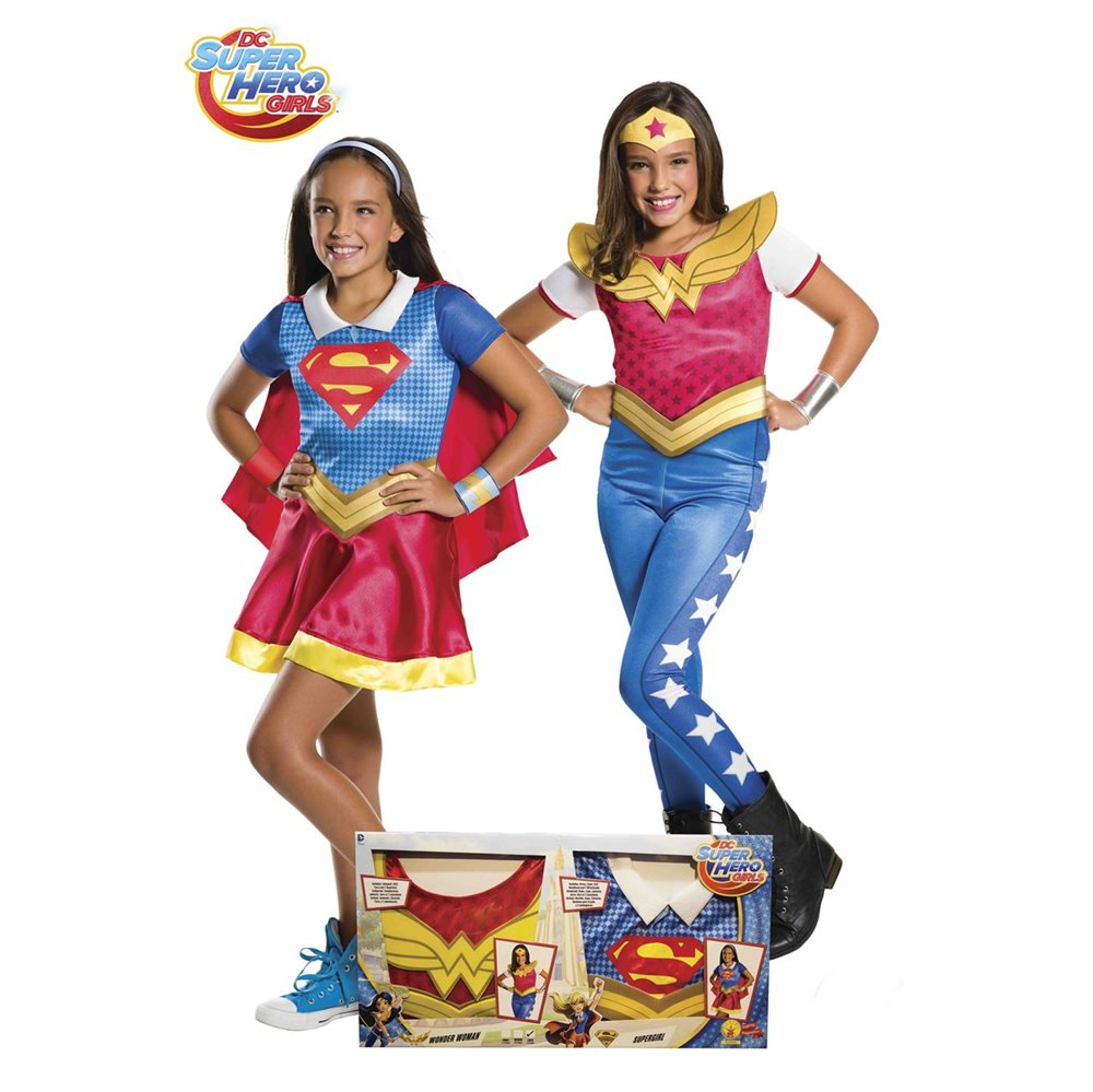 Set Disfraz Supergirl y Wonder Woman Infantil