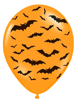 Set Globos Murciélagos Halloween Naranja