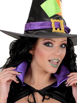 Set Uñas Negras, Pestañas Negras y Maquillaje Verde Purpurina