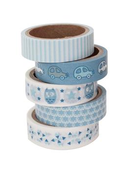 Set de 5 masking tape de bebé azules con 5 diseños diferentes de 5 metros