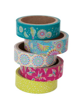 Set de 5 masking tape con 5 diseños diferentes de 5 metros