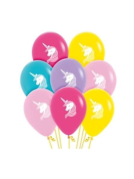 Set de 12 Globos Unicornio Colores Surtidos 30 cm