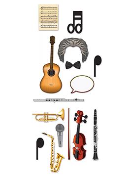 Set de 14 accesorios diferentes para photocall de música