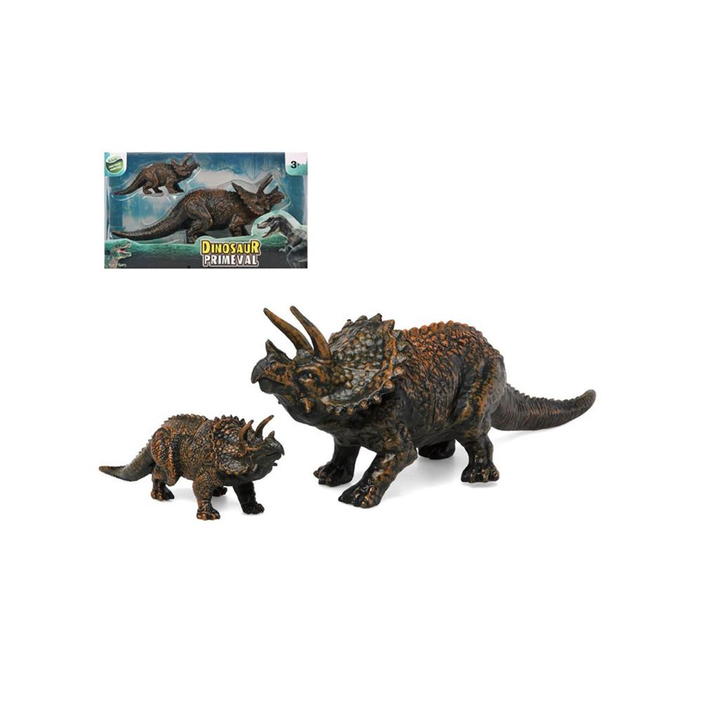 Set 2 Dinosaurios Triceratops Madre y Cría