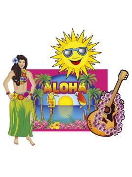 Set de 4 decoraciones hawaianas para fiestas de verano