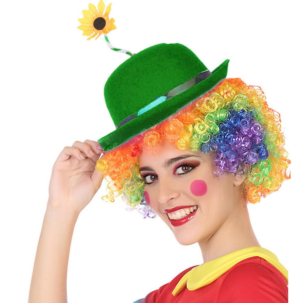 Sombrero Payaso verde con Flor Adulto