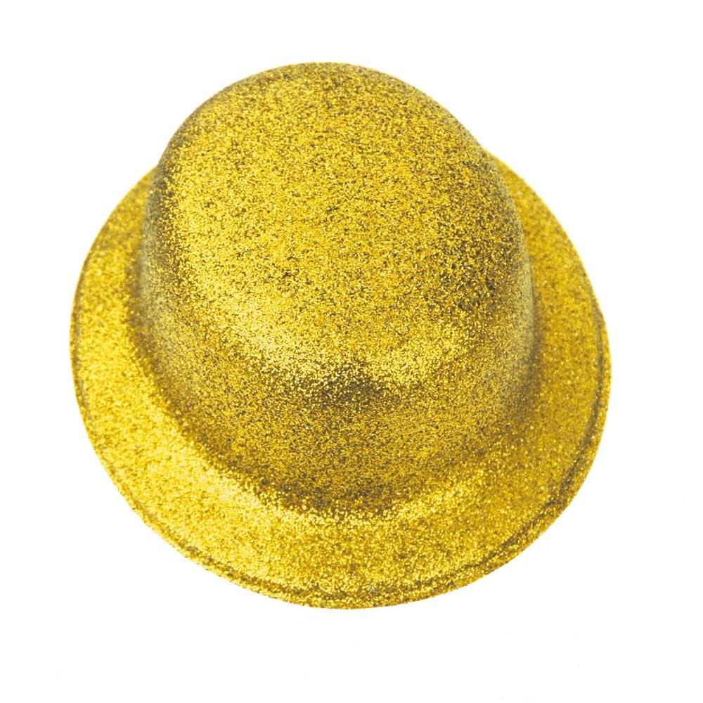 Sombrero Bombín Oro Escarchado 26 cm