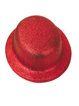 Sombrero Bombín Rojo Escarchado 26 cm
