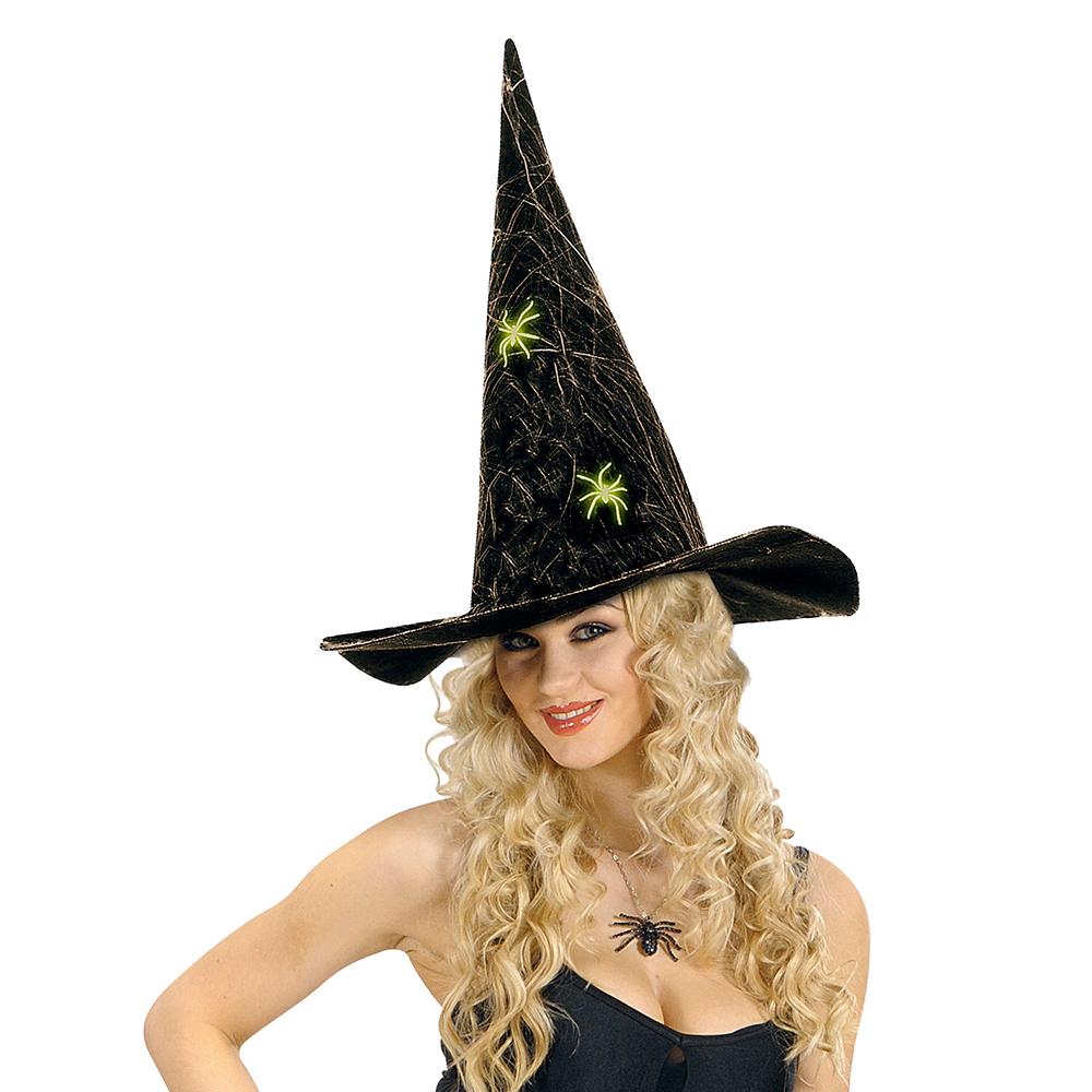 d84fe3386 Sombrero de Bruja Lujo con Telaraña y Arañas Fluorescentes
