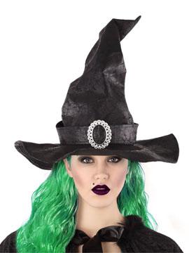 Sombrero Bruja Negro con Hebilla Plateada