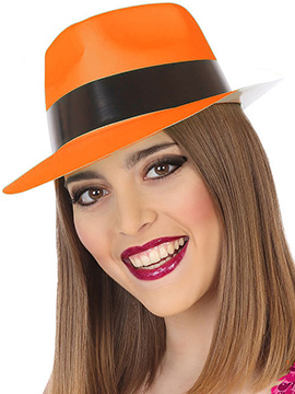 Sombrero Plástico Naranja Neon