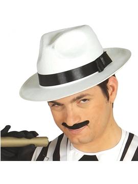 Sombrero Gánster Blanco con Cinta Negra