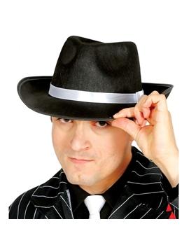 Sombrero Gánster Negro con cinta Blanca
