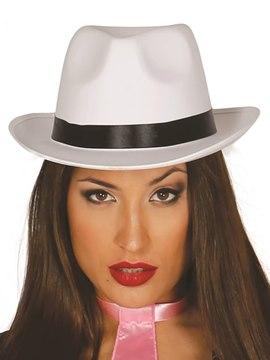 Sombrero Gánster Blanco Satinado