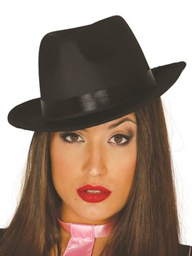 Sombrero Gánster Negro Satinado