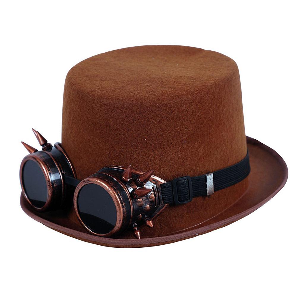 Sombrero Marrón con Gafas Steampunk