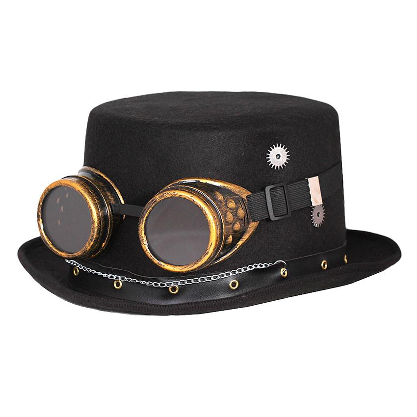 Sombrero Negro con Gafas Steampunk