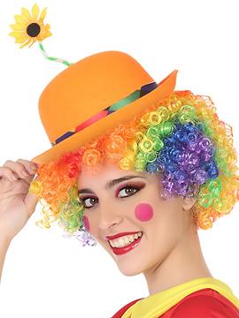 Sombrero Payaso Naranja con Flor Adulto