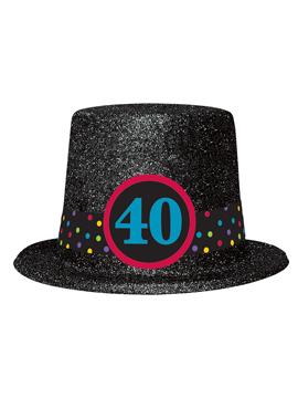 Sombrero de copa de 40 cumpleaños brillante