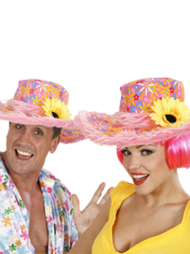 Sombrero Ibiza rosa con girasol y tira de pelo