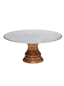 Stand con base de acero galvanizado con soporte de madera