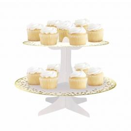 Stand para Cupcakes Blanco y Dorado 30 cm