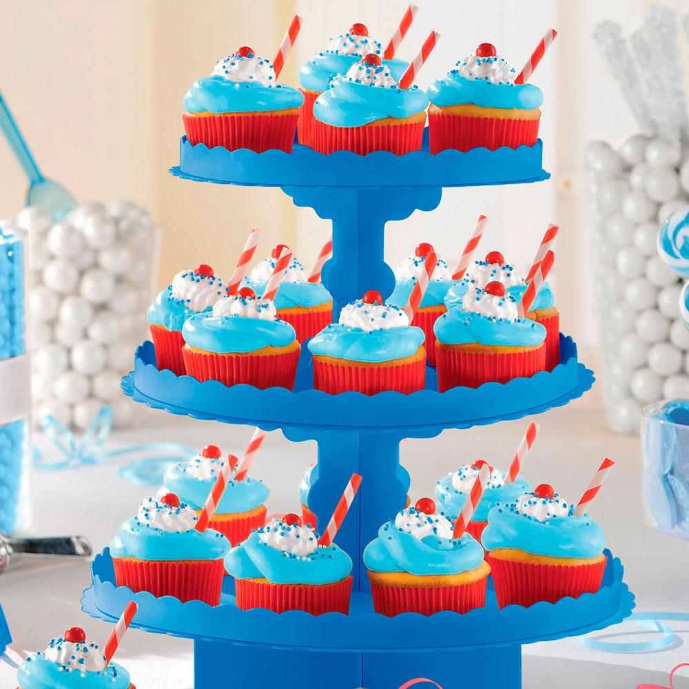 Stand para Cupcakes y Dulces Azul Royal